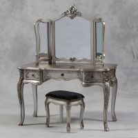 Large Antique Silver Leaf Dressing Table, 3 Fold Mirror
