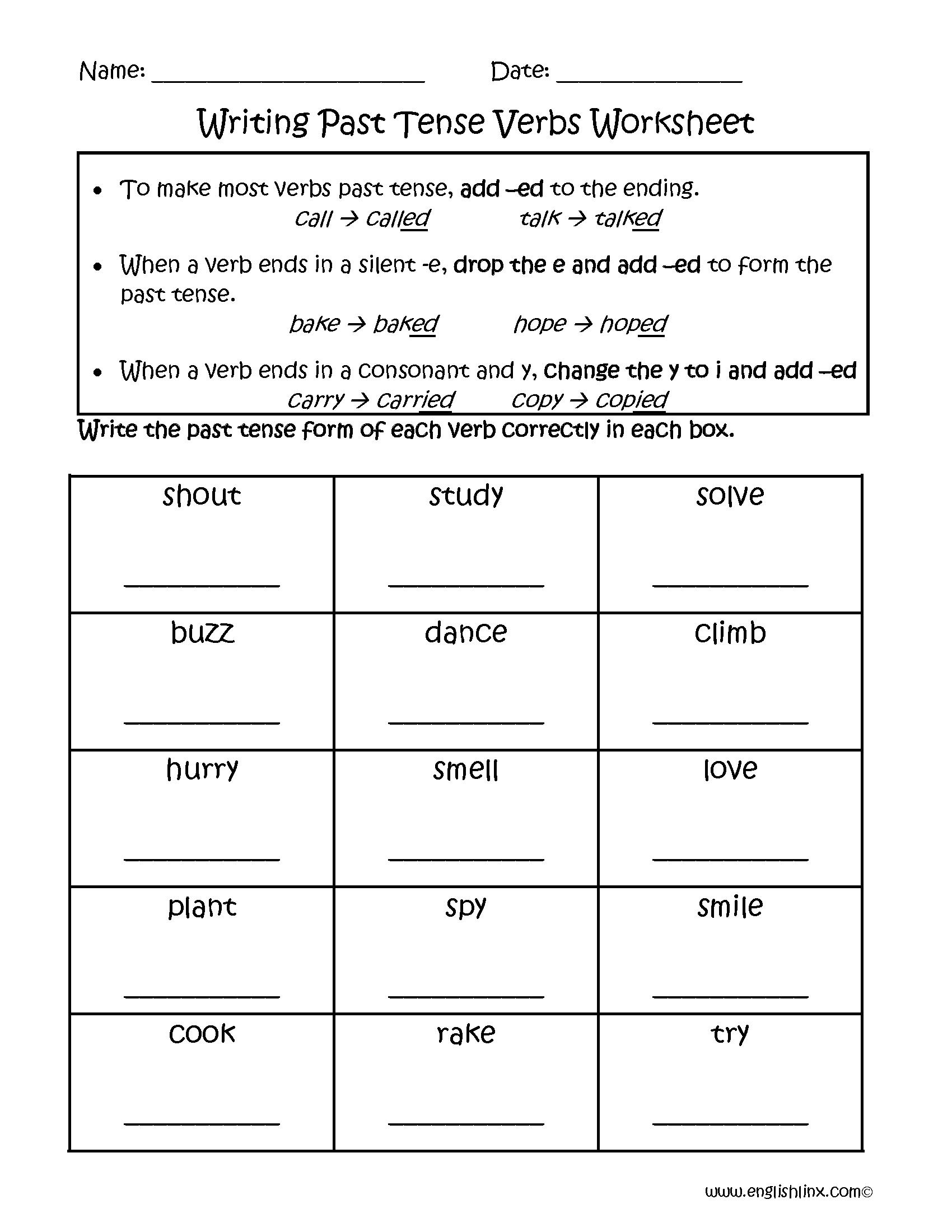 Writing Past Tense Worksheets