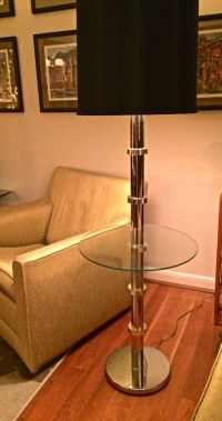 Mid Century Modern Chrome Floor Lamp with Glass Table and ...