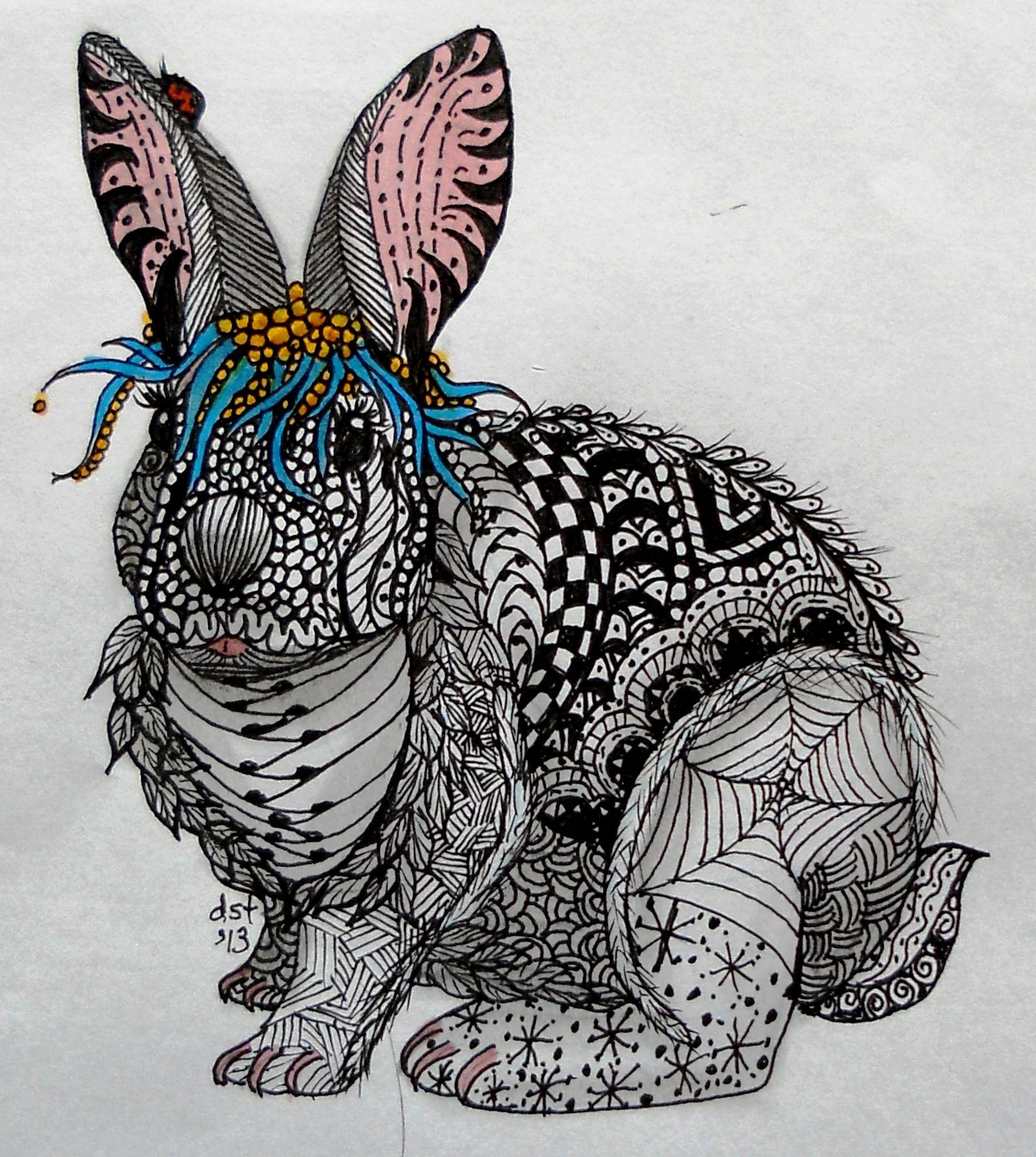 Dusty Zentangle Art Form On The Bunny Check Out The Ear On The Left Ladybug Template