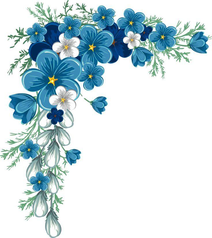 Blue Navy Flower Corner Border