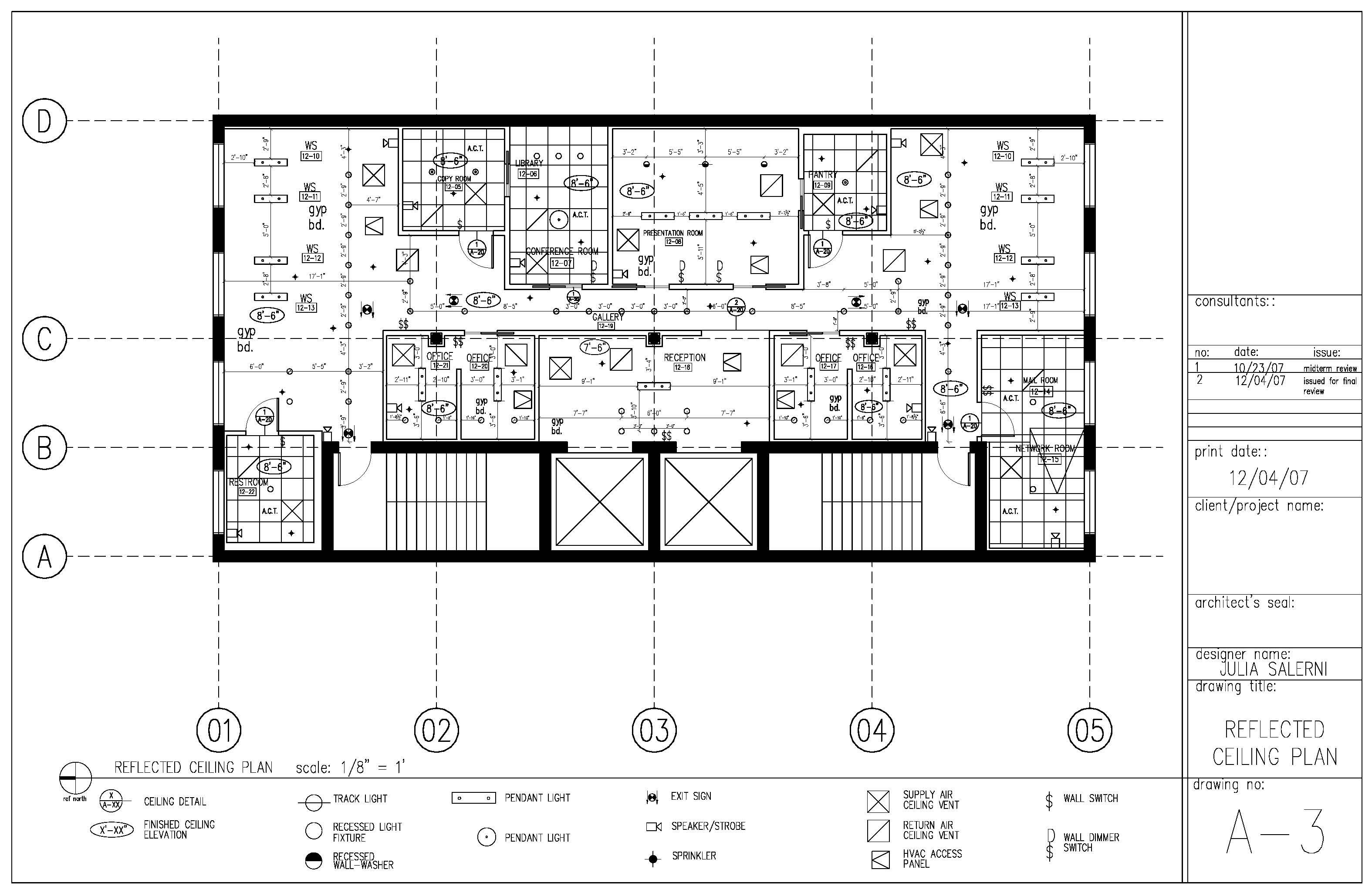 Construction Documents: Reflected Ceiling Plan Sample Page
