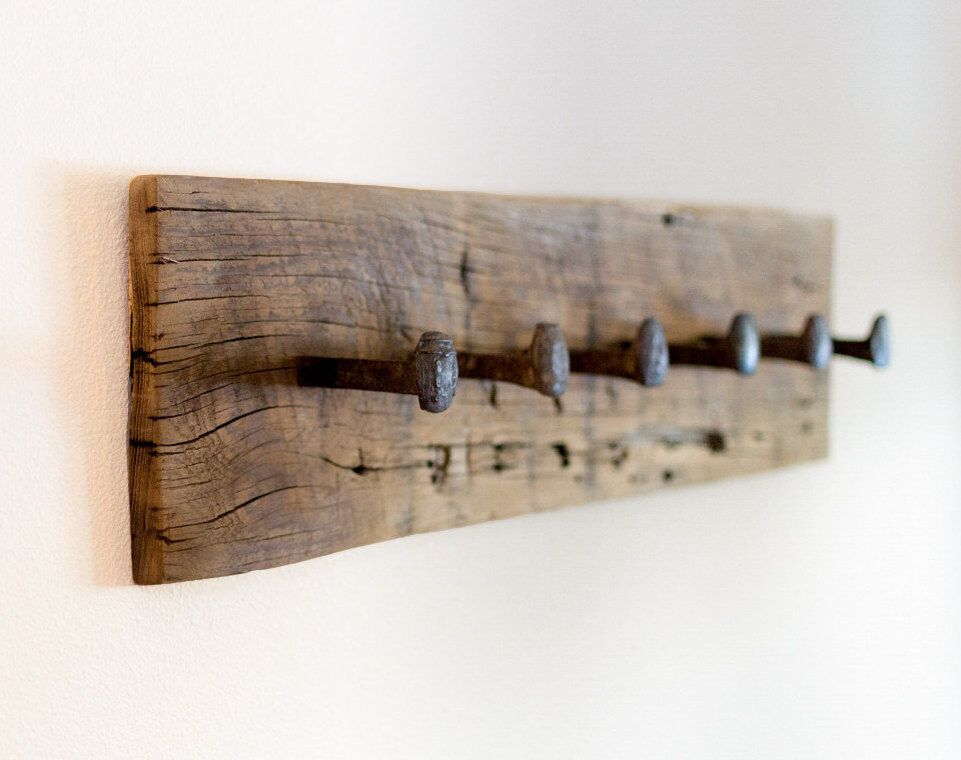 Rustic coat rack, wall hanger with 6 railroad spike hooks