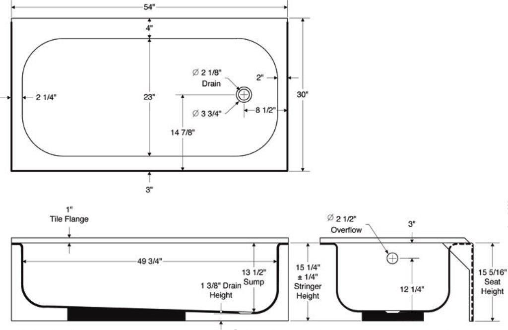 Standard Bathtub Sizes Shower Enclosures Home Steam