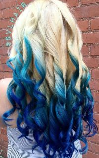 Blonde royal blue ombre dyed hair color | Colorful Hair ...