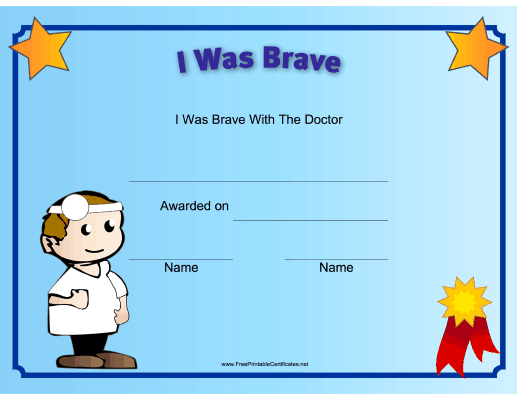 This printable certificate recognizes a childs bravery at the doctor and is illustrated with a