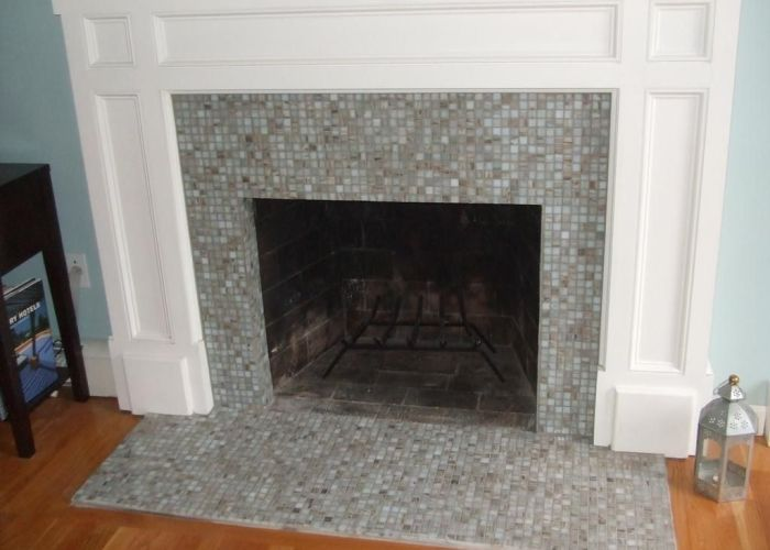Pretty tile fireplaces on glass tiles around fireplace by all styles of also pin srai rafus interior decor pinterest fire places and