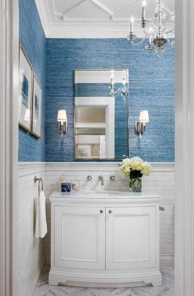 white wainscoting bathroom vanity Powder room: white marble wainscoting; geometric molding