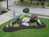 simple landscape designs with rock beds