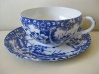 Antique / vintage Chinese blue and white eggshell ...