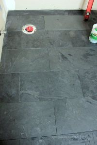 12 by 24 Montauk Black slate tiles in staggered brick ...