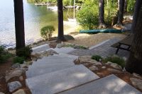 Paver patio with granite steps, entrance to lake, idea ...