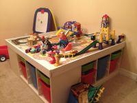 Ikea train table. Trofast, particle board, screwdriver ...