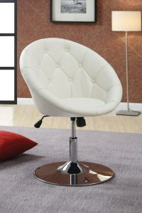 Modern Uphosltered White Leather Swivel Desk Chair With ...