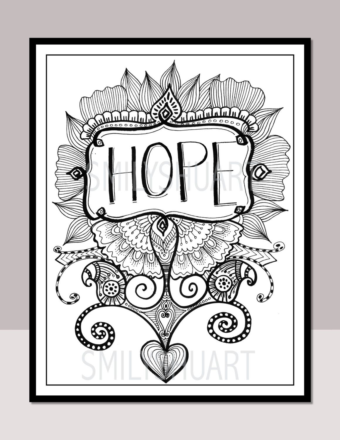 Hope Printable Motivational Quotes Zentangle Adult