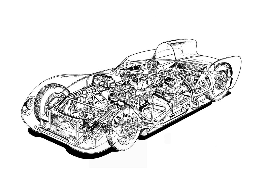 Cutaway drawing from Lotus Eleven, Series I, 1956-57