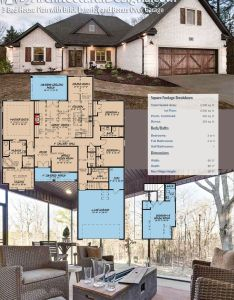 Plan mk bed house with brick exterior and bonus over garage also rh pinterest