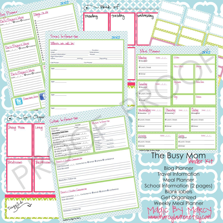 The Busy Mom Organizational Family Binder Printables Add On Kit 15 00 Via Etsy