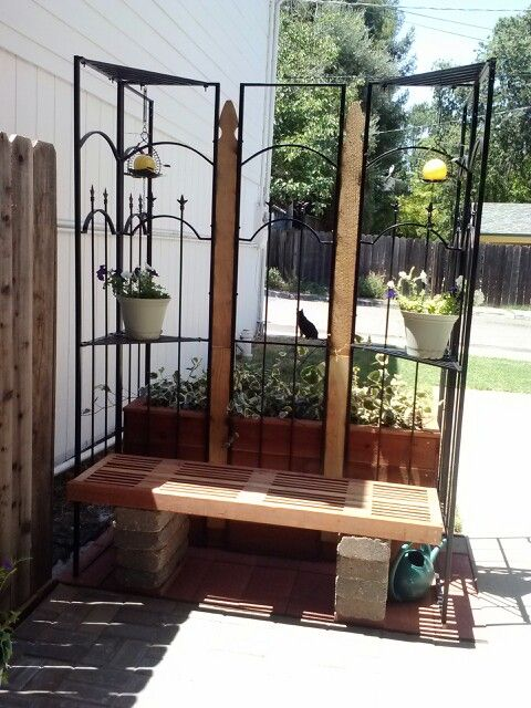 Recycled Metal Gazebo Corners And Fence Pickets Become A