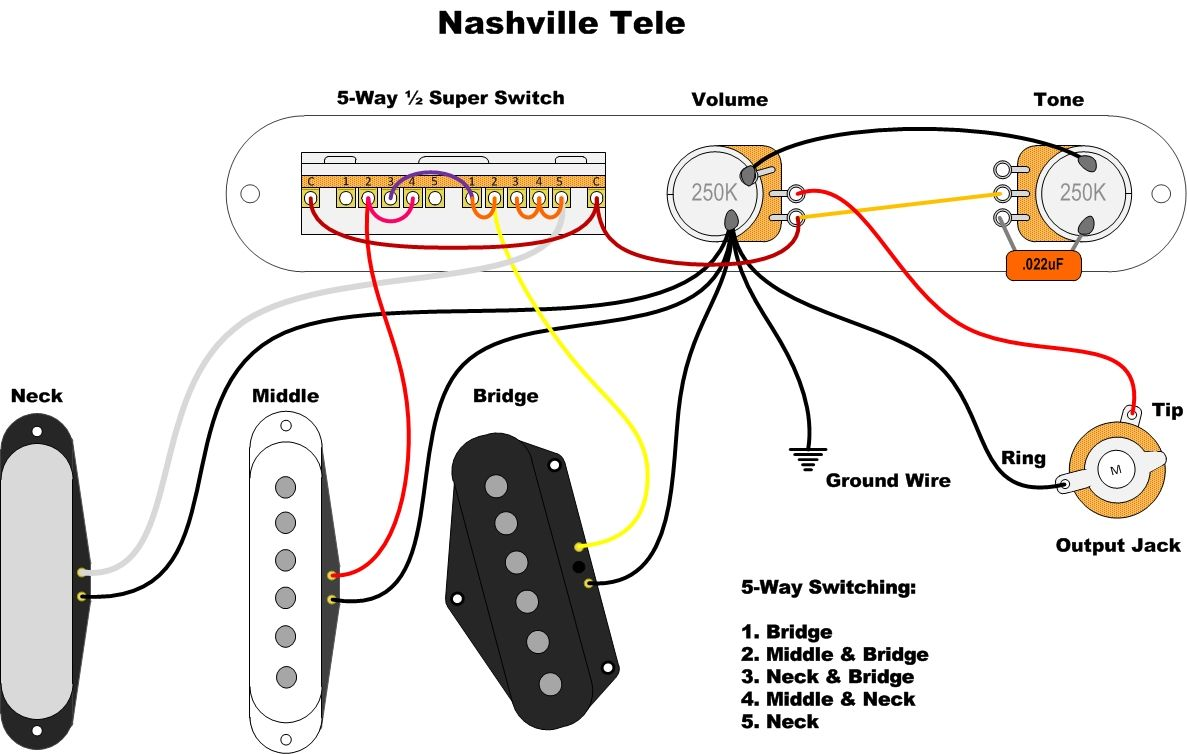 61214ec164062aaa195890e4538ed10f fender nashville telecaster wiring diagram fender telecaster wiring schematic at eliteediting.co