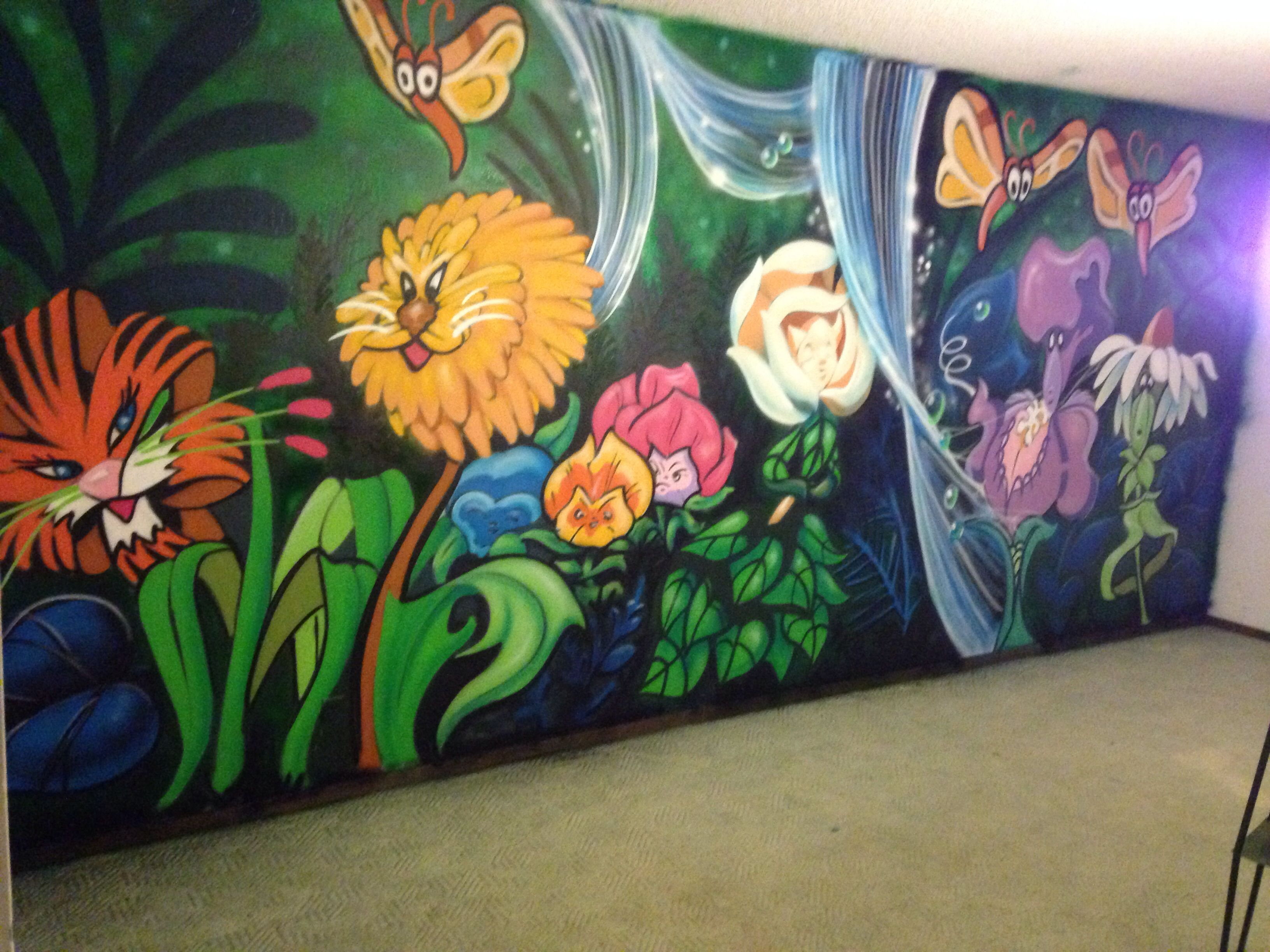 Alice In Wonderland Talking Flowers Nursery Wall Mural Done With Spray Paint By Nicholas