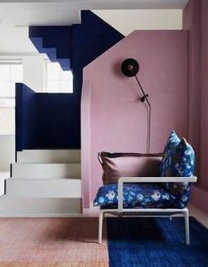 Block colour pink blue painted stairs chalk paint ideas for timeless wall every room in the house from entrance halls to dark living also dining area with statement red design rh pinterest