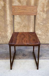 Wood + Metal Dining Chair | $215 walnut seat + metal frame ...