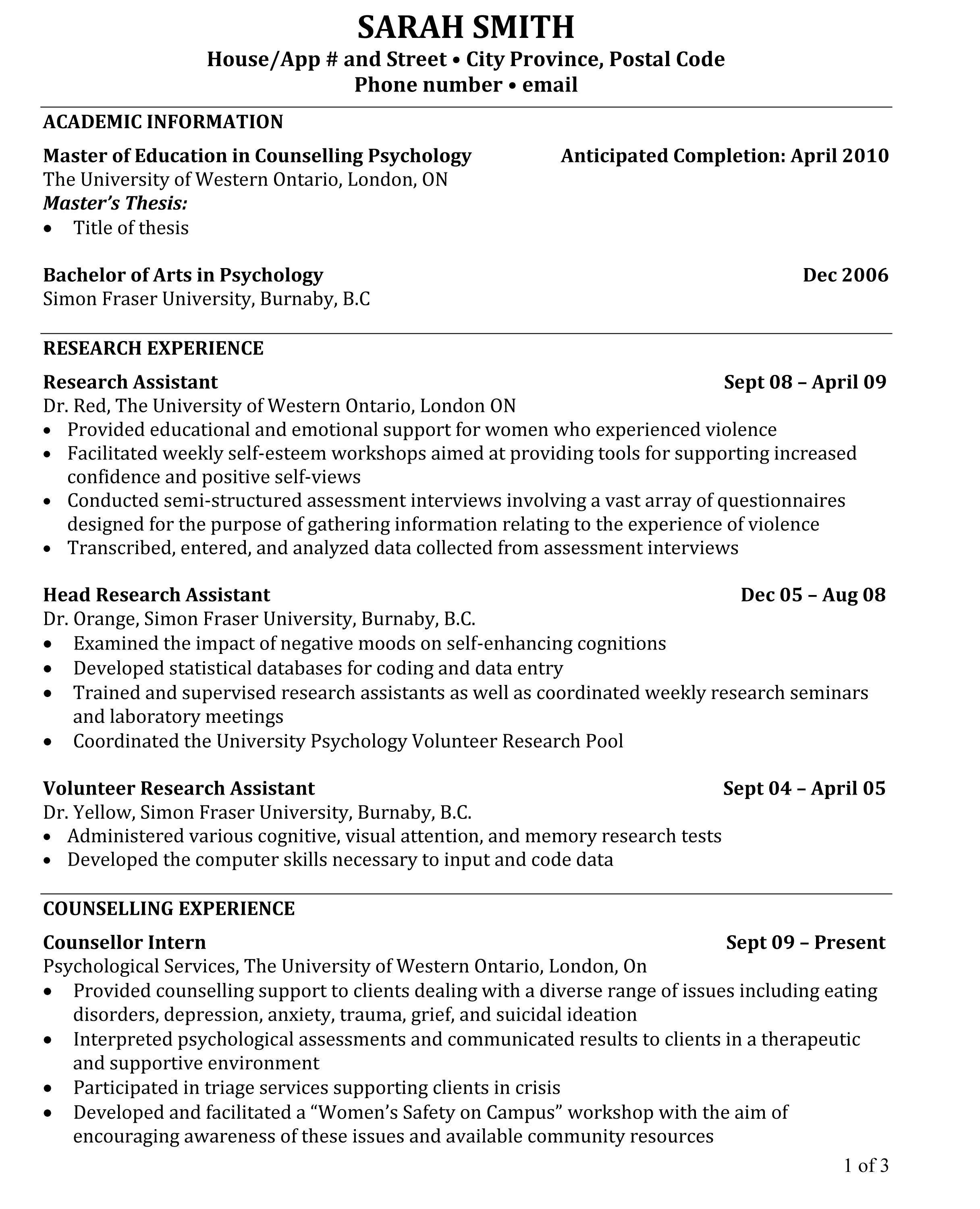 Graduate Student Resume Samples Phd Cv The Below Is Much Closer To My Experience Level
