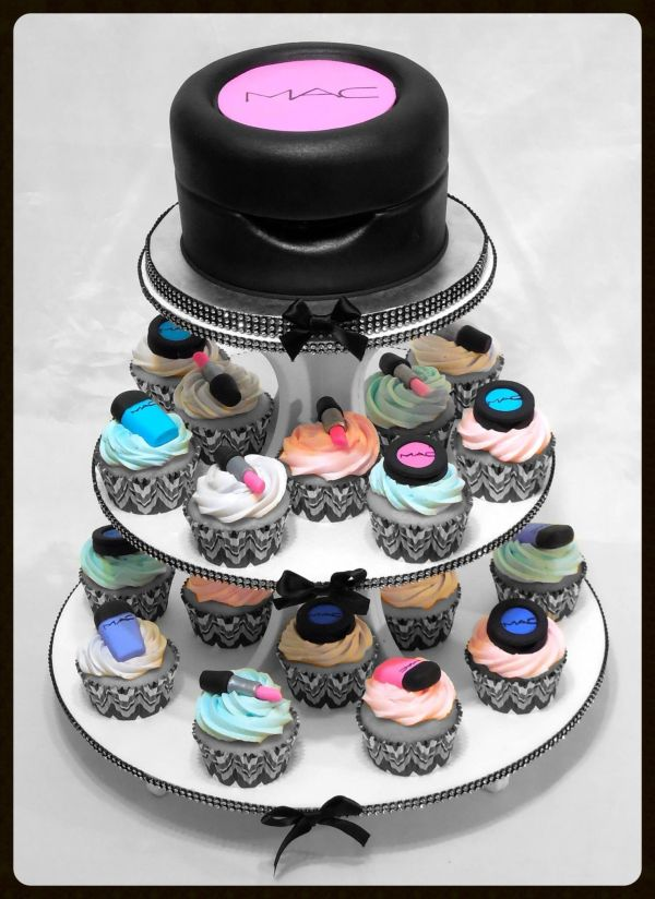 Mac Makeup Cupcake Tower Cakes Cool Birthdays