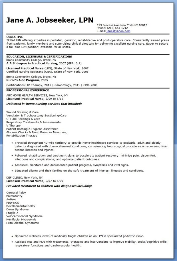resume examples for lpn students