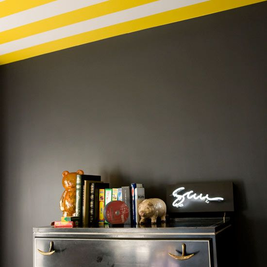 Black bedroom with yellow and white striped ceiling ways paint decorating ideas also rh pinterest