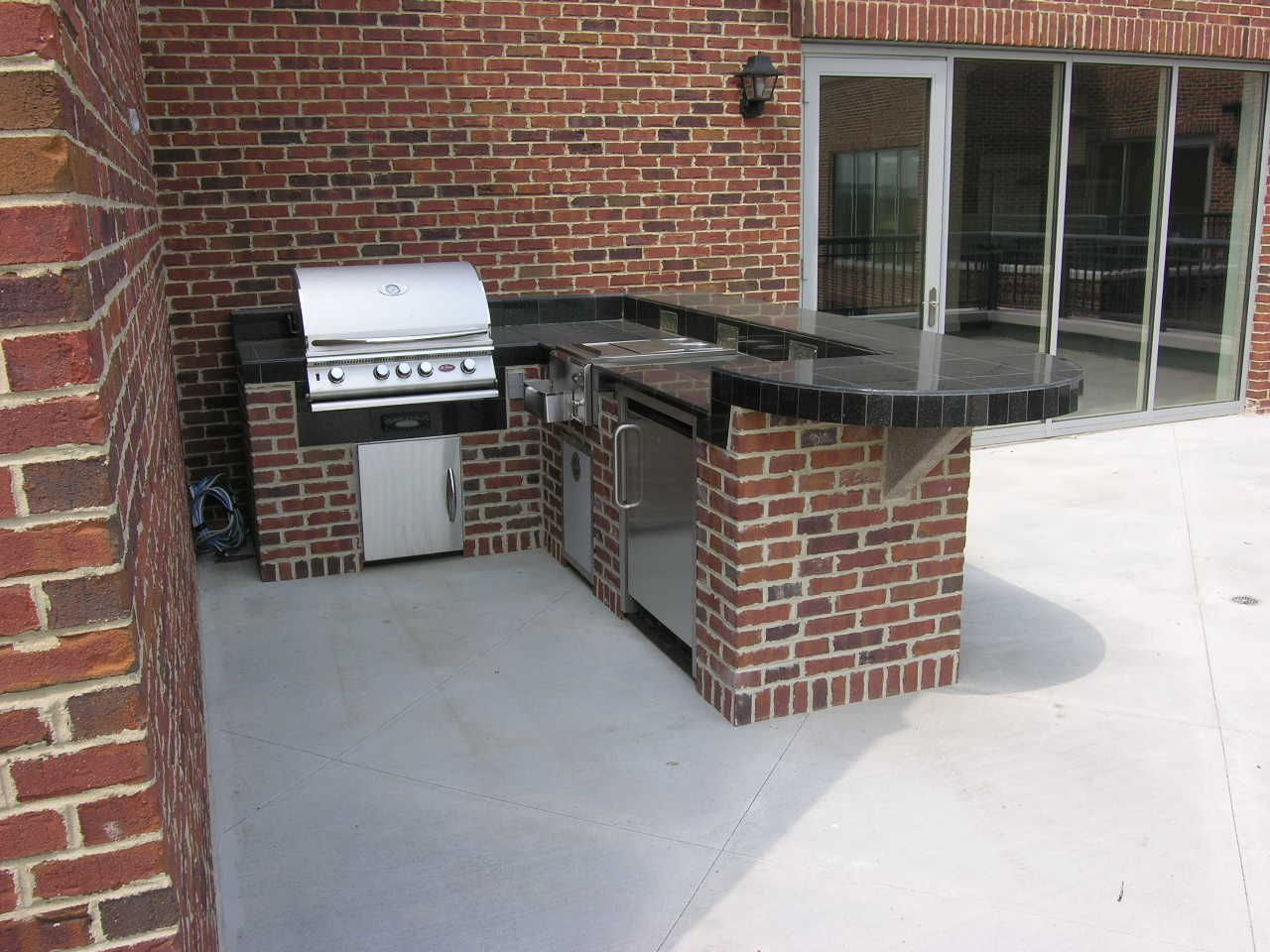 l shaped outdoor kitchen stainless steel corner shelf brick with a grill refrigerator