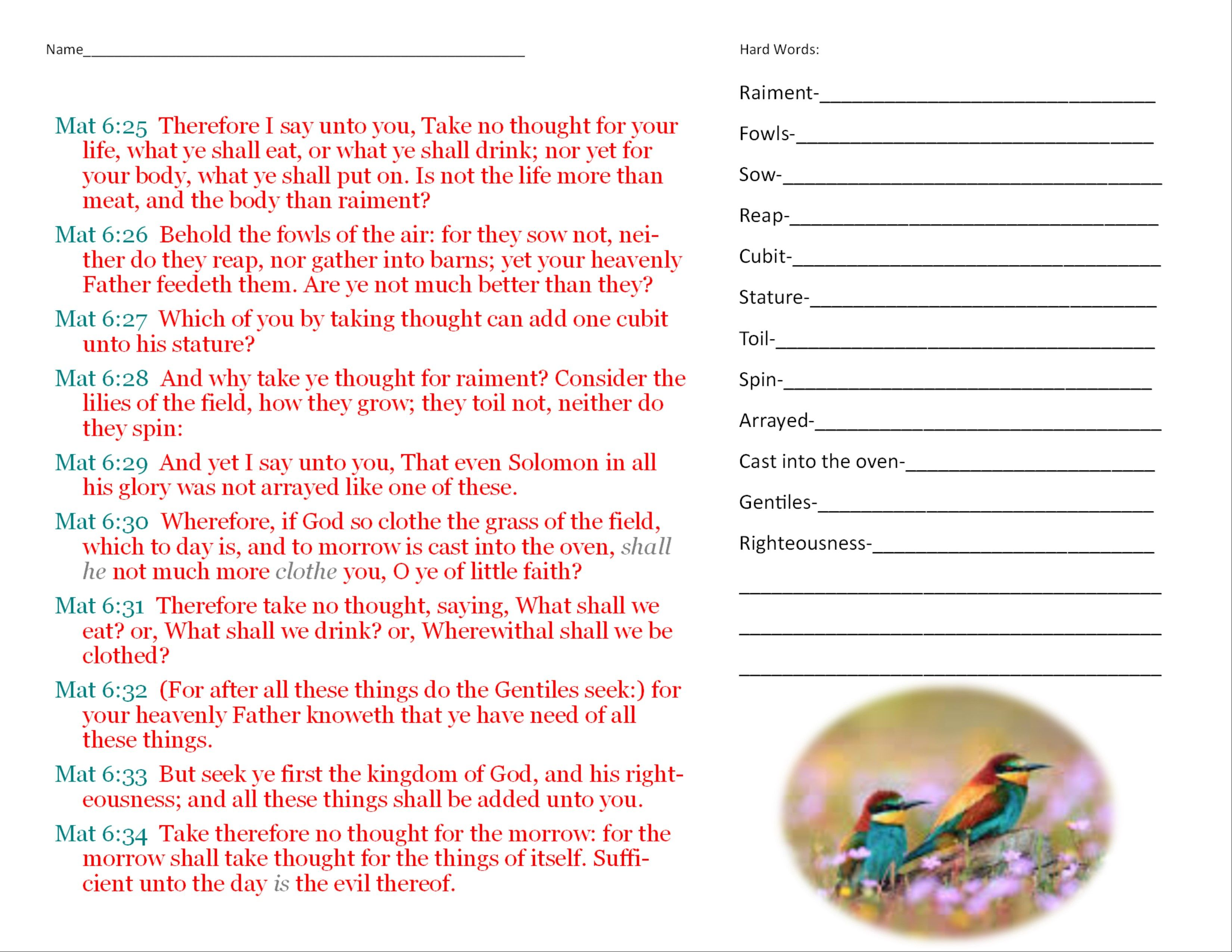 This Is A Worksheet For A Lesson On Matthew 6 25 34 It