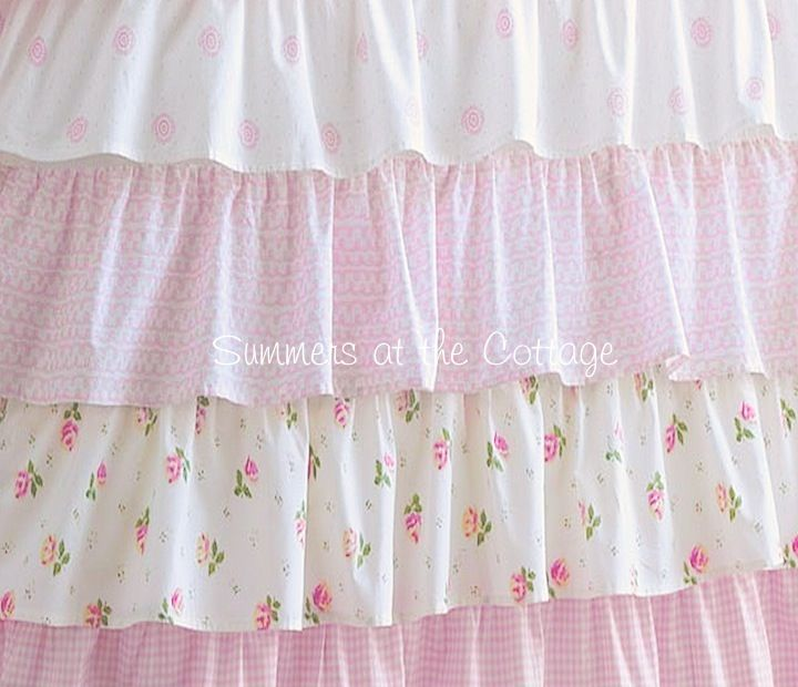 Cottage colors ruffle shower curtain pink roses  Pink