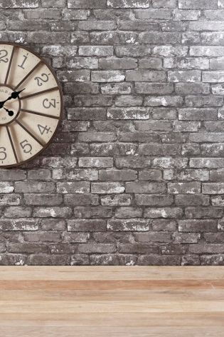 paint ideas for living room feature wall art uk grey brick effect wallpaper from next | ...