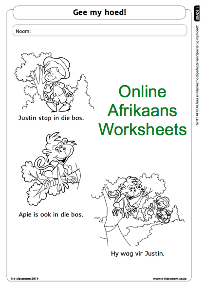 Grade One Online Afrikaans Worksheet reading. For more