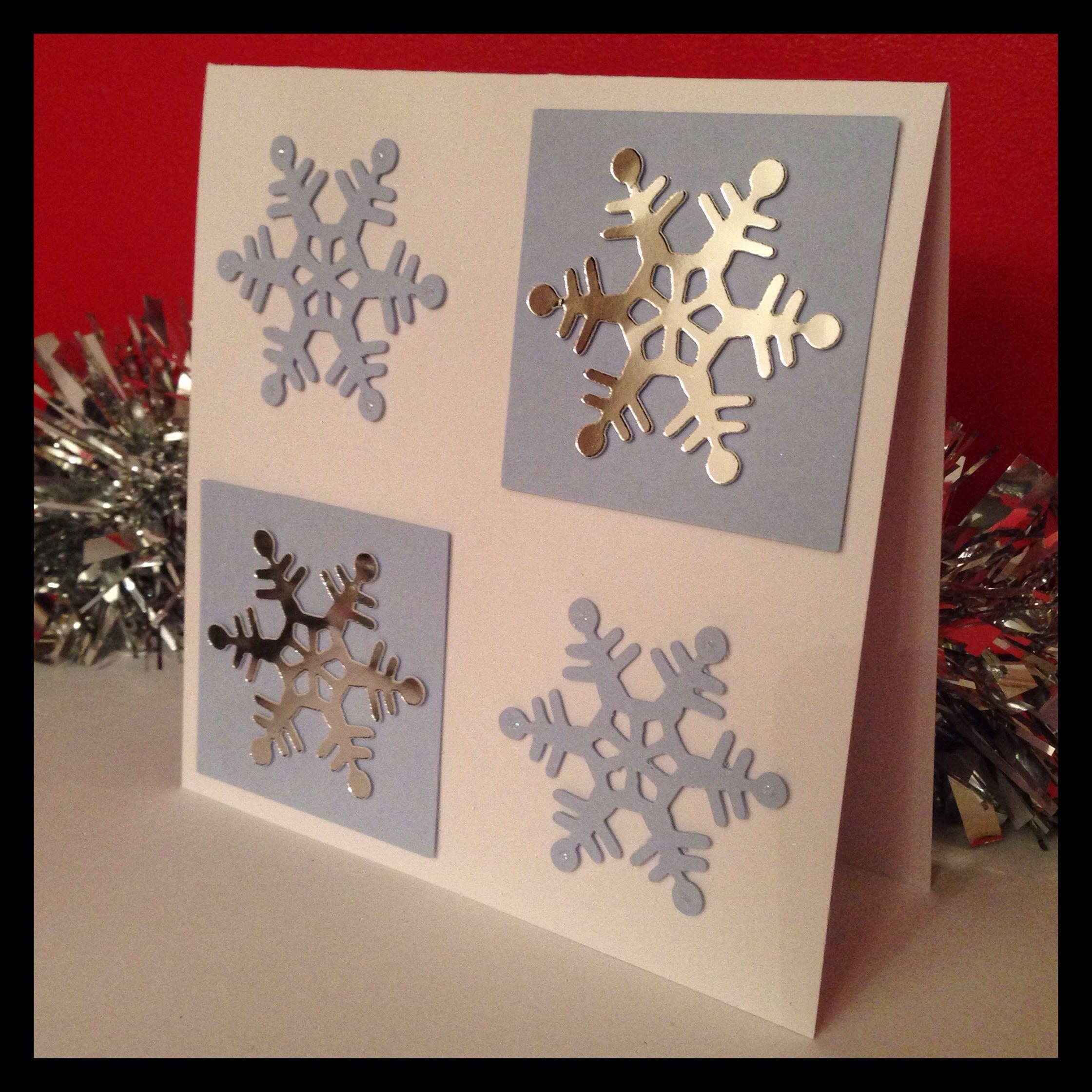 Christmas Card Handmade Homemade Cricut Snowflake Glitter