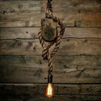 Pulley Light - Barn wood Pendant Light -Manila Rope Light ...