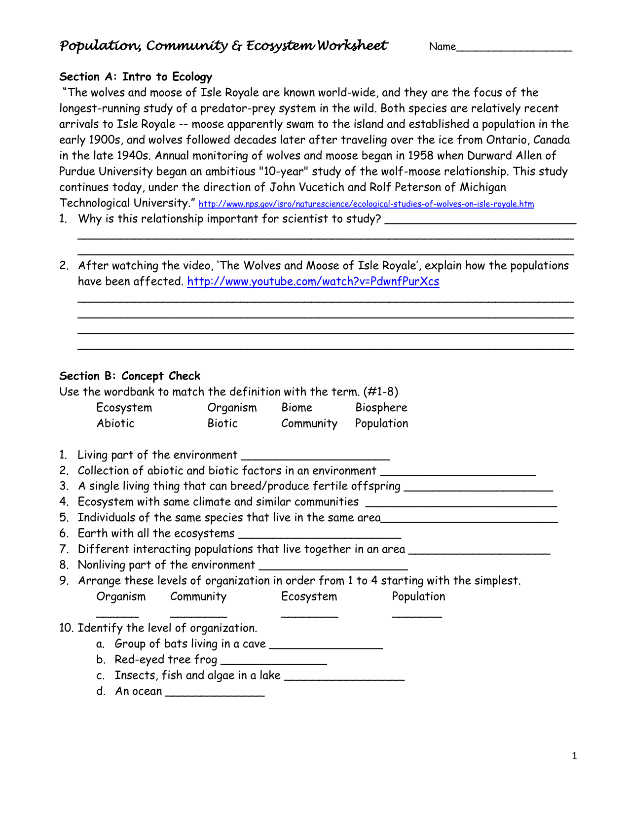 Population Community Amp Ecosystem Worksheet