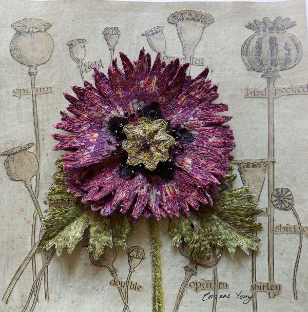 Botanical Embroidery Textile Art 3d Assemblage