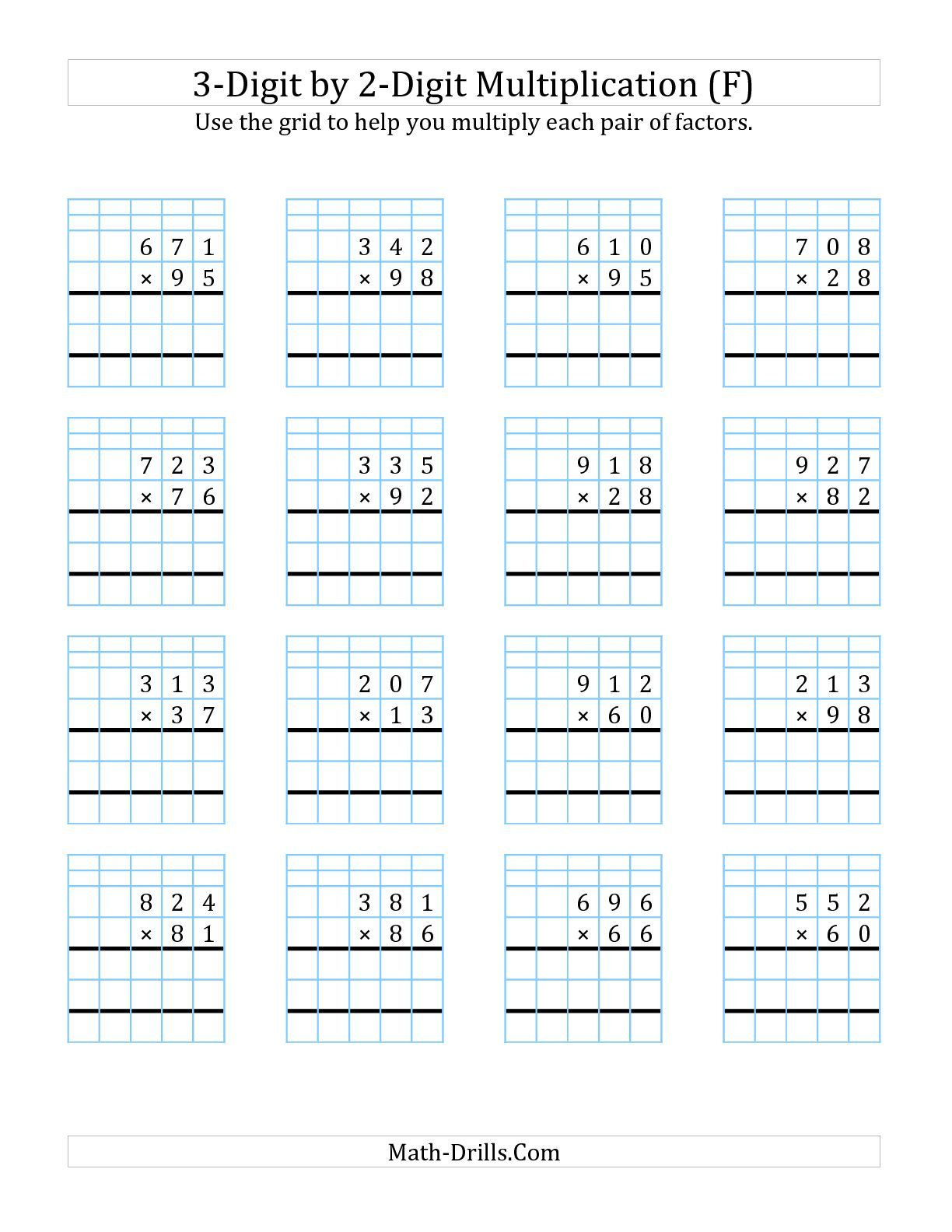 3 Digit By 2 Digit Multiplic Ti With Grid Supp T F M Th