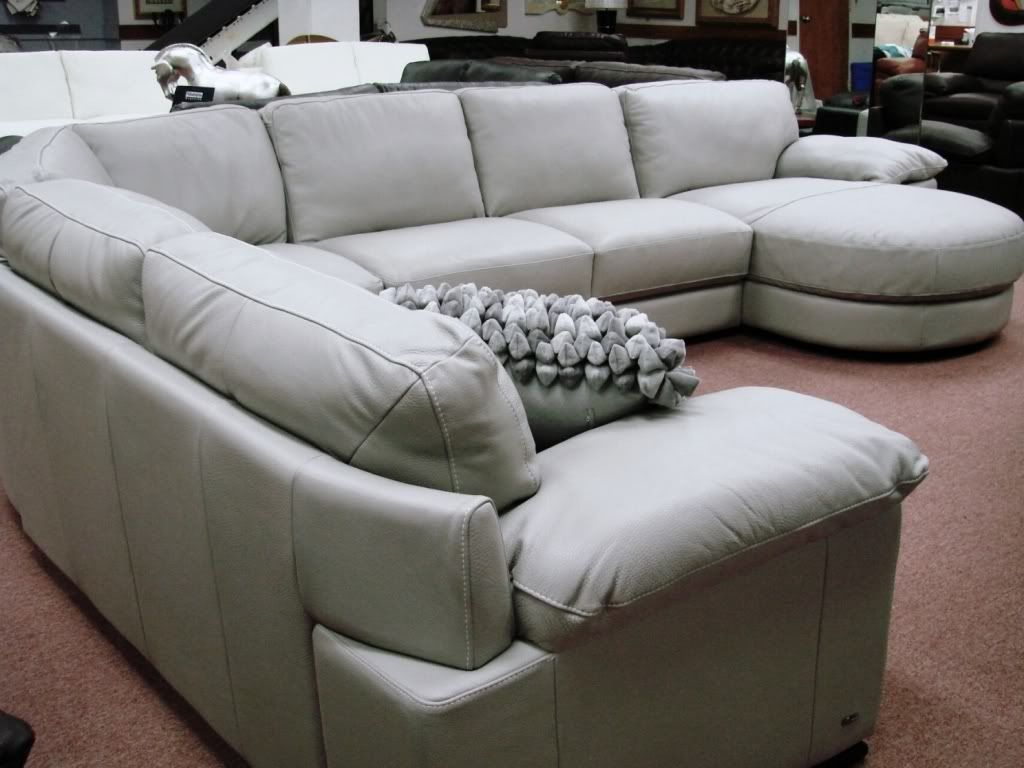 Natuzzi Editions Leather Sectionals B684 Cognac Leather Sale