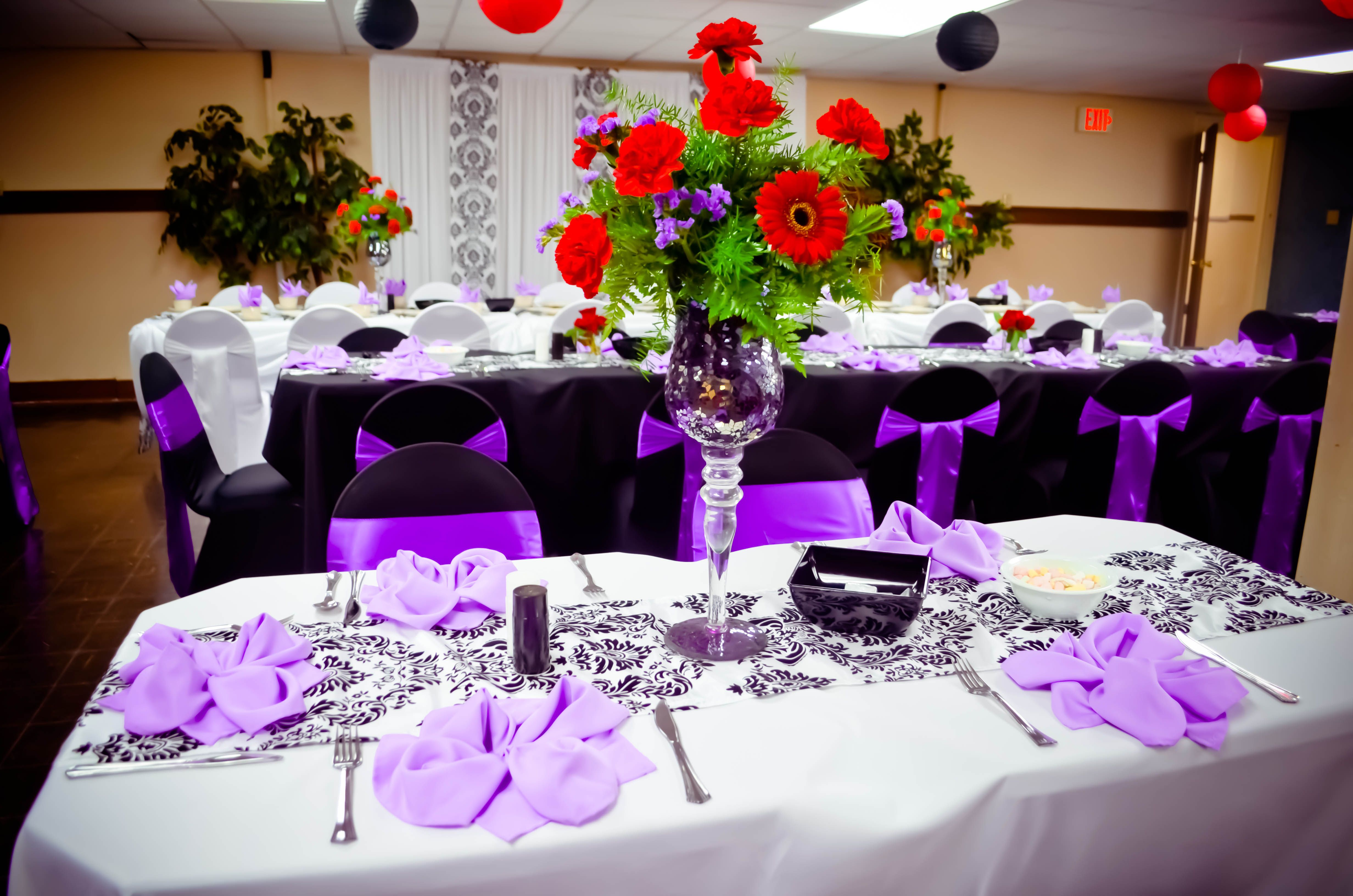 purple chair sashes for weddings fluffy bean bag chairs event black and white spandex covers satin