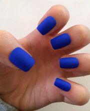 royal blue fake nails matte