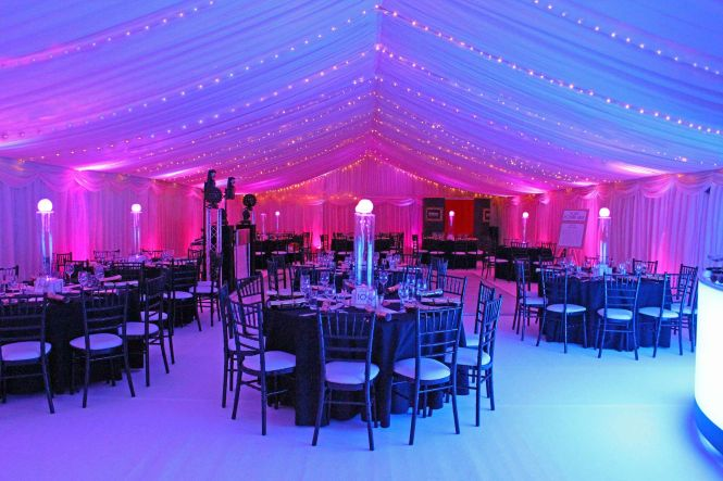 Marquee Interior With Fairy Lights Blue And Pink Black Furniture