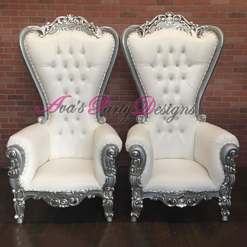 White and Silver Duchess highback Chairs for party rental