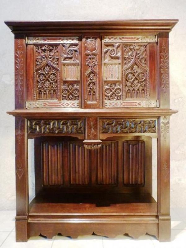 Antique Credenza Sideboard Late Gothic Middle