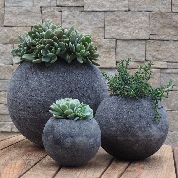 lava stone circular plant pots