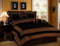 7 Pieces Chocolate Brown Suede Short Fur Comforter Set ...