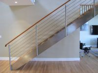 Open riser stair made with stainless steel plate stringers ...